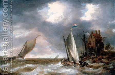 Shipping In Choppy Waters Off A Promontory by Bonaventura, the Elder Peeters - Reproduction Oil Painting