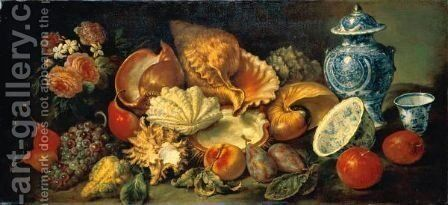 Still Life With A Conch Shell, A Nautilus Shell And Other Seashells Together With Pears, Grapes, A Peach, Plums, Apples, A Bouquet Of Flowers And Porcelain Vessels by Neapolitan School - Reproduction Oil Painting