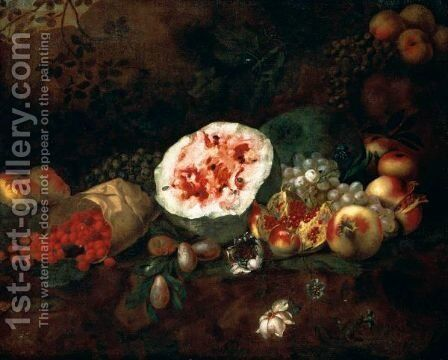 Still Life Of A Watermelon, Pomegranates, Grapes, Wild Strawberries, Apples And Plums In A Landscape by (after) Giuseppe Ruoppolo - Reproduction Oil Painting