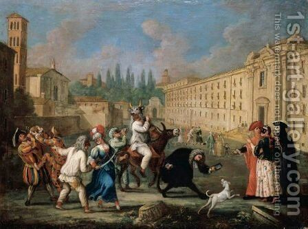Carnival Scene With Commedia Dell'Arte Figures Performing And Making Music In A Street by (after) Marco Marcola - Reproduction Oil Painting