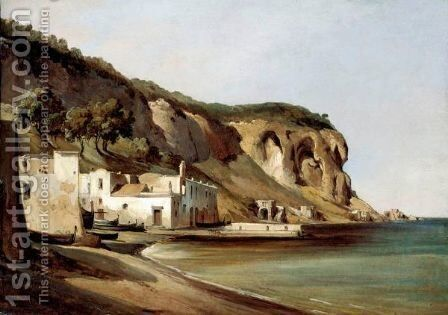 View Of The Italian Coast Near Posillipo, Naples by Anthonie Sminck Pitloo - Reproduction Oil Painting