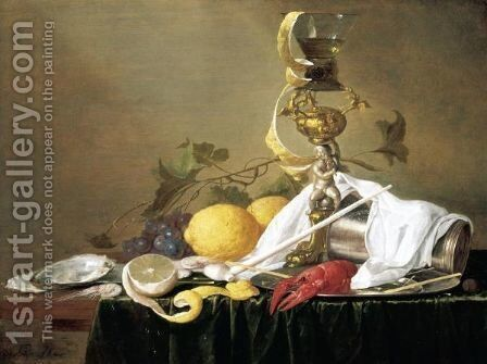 Still Life Of A Wine-Glass On A Parcel-Gilt Stand, An Overturned Silver Beaker And A Lobster On A Pewter Plate, Together With A Clay Pipe, Lemons, Grapes, Shrimps And Oysters, All Arranged Upon A Table-Top Draped With A Green Cloth by Jan Davidsz. De Heem - Reproduction Oil Painting