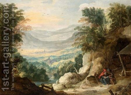 An Extensive Mountainous Landscape With Two Hermits Reading In The Foreground by (after) Joos De Momper - Reproduction Oil Painting