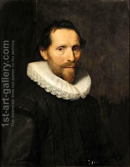 Portrait Of A Gentleman Said To Be Hugo Grotius, Half Length, Wearing Black With A White Ruff by (after) Michiel Jansz. Van Mierevelt - Reproduction Oil Painting