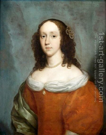 Portrait Of A Lady, Half Length, Wearing An Orange Silk Dress And A Green Silk Shawl by Cornelius Janssens van Ceulen - Reproduction Oil Painting