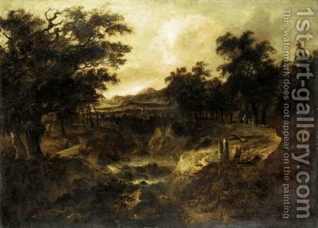 A Wooded River Landscape, With Figures On A Path By A Cascade by (after) Jacob Van Ruisdael - Reproduction Oil Painting