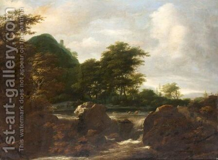 Woodland Landscape With Drovers And Their Animals Beside A Cascade by (after) Jacob Van Ruisdael - Reproduction Oil Painting