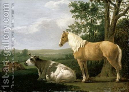 A Horse And Cows In A Landscape by (after) Abraham Van Calraet - Reproduction Oil Painting