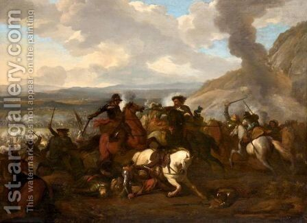 A Cavalry Engagment In A Landscape by Jan von Huchtenburgh - Reproduction Oil Painting