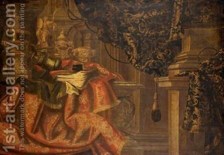 Still Life With Silver And Gilt Urns, Together With A Gilt Statue Of Minerva On An Embroidered Cloth Draped Over A Table by (after) Francesco (Il Maltese) Fieravino - Reproduction Oil Painting