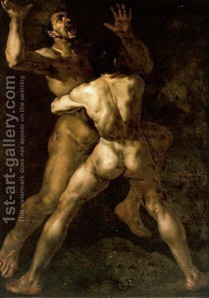 Hercules And Antaeus by Neapolitan School - Reproduction Oil Painting