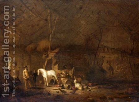 A Barn Interior With A Cavalier And His Horse by Egbert Lievensz. Van Der Poel - Reproduction Oil Painting