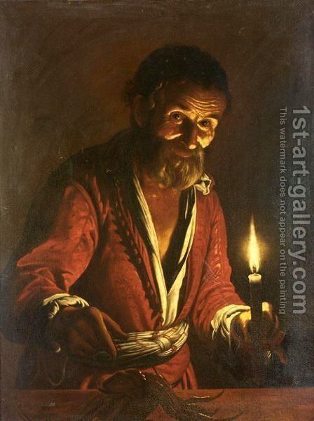 A Nocturnal Scene With A Man Holding A Candle, Pointing To A Crab On A Table by (after) Matthias Stomer - Reproduction Oil Painting