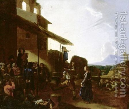 Roman Street Scene With Figures Dancing And Drinking Outside A Tavern by (after) Michaelanglo Cerquozzi - Reproduction Oil Painting