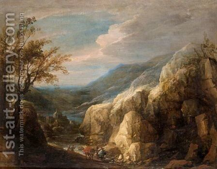 An Extensive Mountianous Landscape With Figures And A Donkey Beside A River by (after) Lodewijk De Vadder - Reproduction Oil Painting