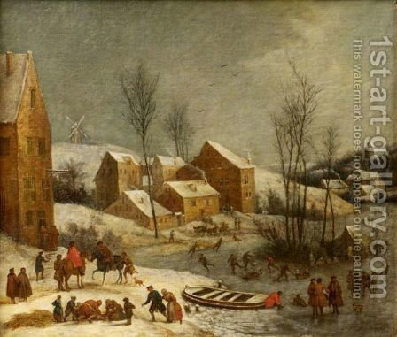 Winter Landscape With Numerous Figures Skating Near A Village by Jan Peeter Verdussen - Reproduction Oil Painting