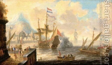 A View Of A Mediterranean Harbour Scene With A Galley And A Dutch Man Of War In The Foreground by (after) Bonaventura Peeters I - Reproduction Oil Painting