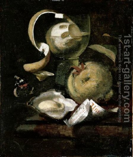 Still Life Of A Peeled Lemon In A Roemer, An Apple, Paper, Oyster And Butterfly On A Ledge by Marten Nellius - Reproduction Oil Painting