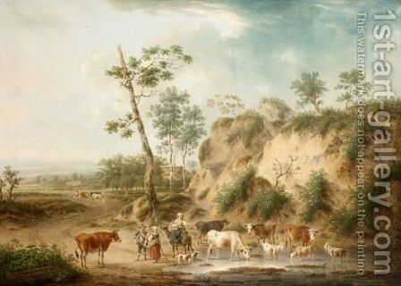 Peasants With A Cattle In An Open Landscape by Henri-Joseph Antonissen - Reproduction Oil Painting