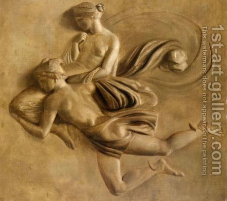Mercury Carrying A Nymph by (after) Piat Joseph Sauvage - Reproduction Oil Painting