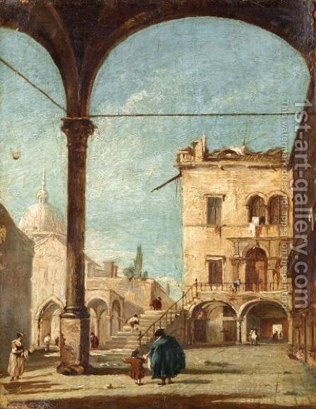 A Venetian Capriccio With Figures Standing Under A Loggia And A Chapel Beyond by (after) Francesco Guardi - Reproduction Oil Painting