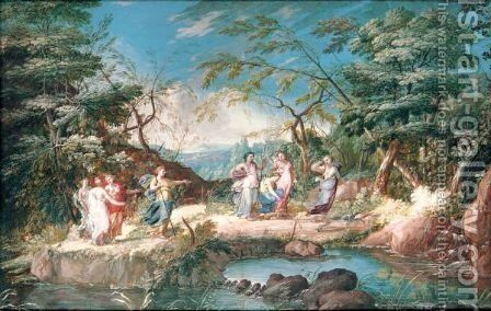 Diana Hunting With Her Nymphs by (after) Louis Nicolael Van Blarenberghe - Reproduction Oil Painting
