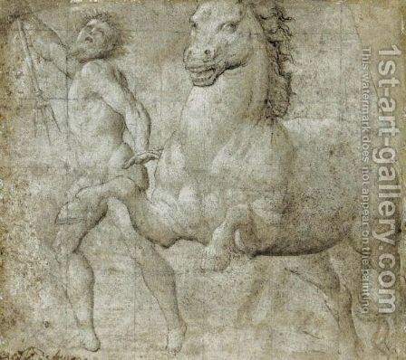 Neptune And A Horse by (Giovanni Antonio de' Sacchis) Pordenone - Reproduction Oil Painting