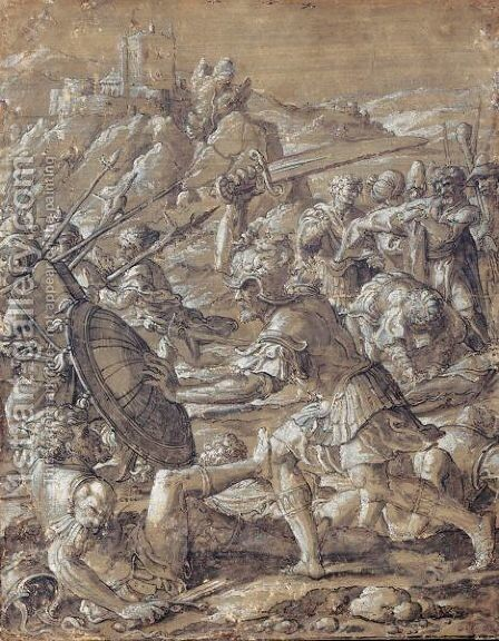 Roman Battle Scene by (after) Pieter Coecke Van Aelst - Reproduction Oil Painting