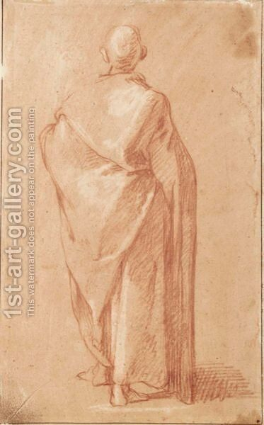 Standing Draped Male Figure, Seen From Behind by Abraham Bloemaert - Reproduction Oil Painting