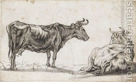 Study Of Two Cows by Aelbert Cuyp - Reproduction Oil Painting