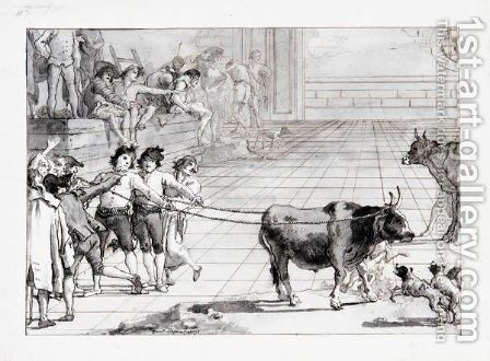 Scene In A Venetian Campo Two Young Men Holding A Bull, Roped By Its Horns, With Dogs And Other Figures Around Them by Giovanni Domenico Tiepolo - Reproduction Oil Painting