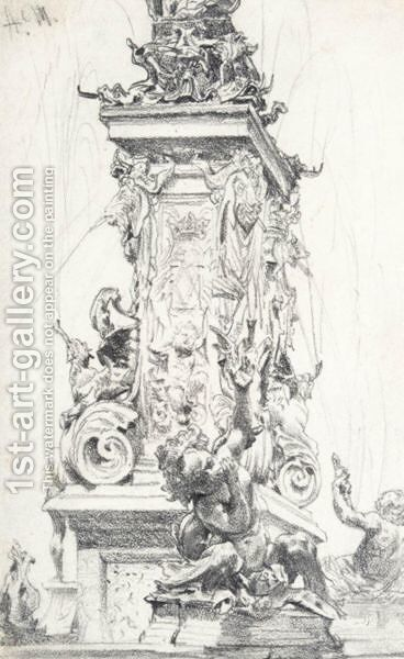 The Otto Von Wittelsbach Fountain At The Munich Residence by Adolph von Menzel - Reproduction Oil Painting