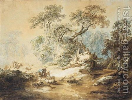 Wooded Autumn Landscape With Shepherds And Their Flock by Jean-Baptiste Huet - Reproduction Oil Painting