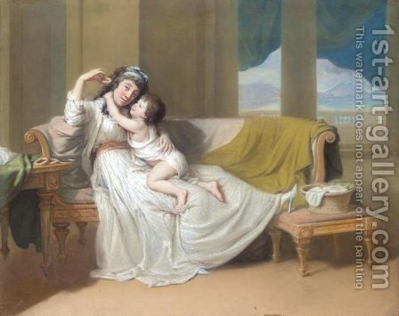 Portrait Of A Woman And Child In An Interior by Hugh Douglas Hamilton - Reproduction Oil Painting