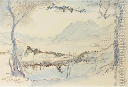 Lago D'Iseo, Italy by Edward Lear - Reproduction Oil Painting