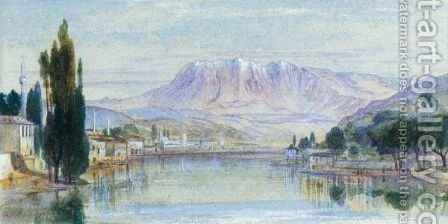 View Of Mount Tomohrit, Albania by Edward Lear - Reproduction Oil Painting