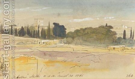 View Of St Antonio, Malta by Edward Lear - Reproduction Oil Painting