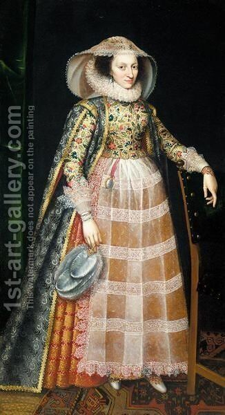 Portrait Of A Lady Said To Be Margaret Arundel, Lady Weston (1540-1616) by (after) Robert Peake - Reproduction Oil Painting