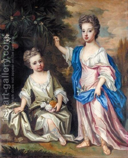 Portrait Of Two Sisters by (after) James Francis Maubert - Reproduction Oil Painting
