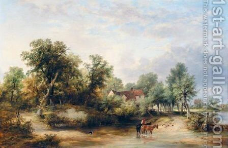 Crossing The Ford by James Stark - Reproduction Oil Painting