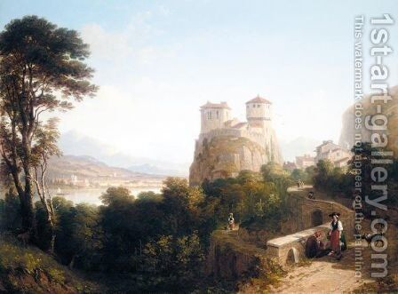 A Tyrolean Landscape With Peasants On A Path Leading To A Castle by Caleb Robert Stanley - Reproduction Oil Painting