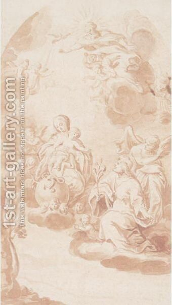 Virgin And Child In Glory by (after) Hans I Rottenhammer - Reproduction Oil Painting