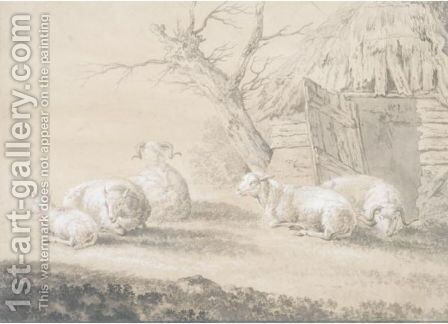 Sheep Before A Barn by Dutch School - Reproduction Oil Painting