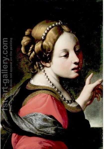 Portrait Of A Young Woman by (after) Antiveduto Gramatica - Reproduction Oil Painting