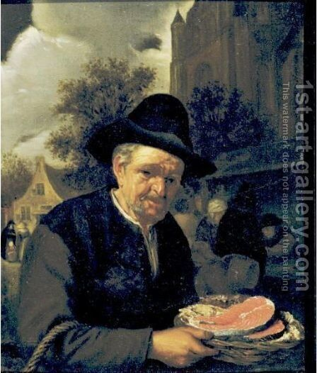 A Peasant Holding A Basket Of Fish In A Market by (after) Adriaen Jansz. Van Ostade - Reproduction Oil Painting