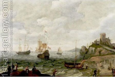 Coastal Landscape With Ships At Anchor And Fisherfolk by Isaac Willaerts - Reproduction Oil Painting