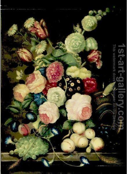 Still Life With Flowers, Grapes And Parrot by Dutch School - Reproduction Oil Painting