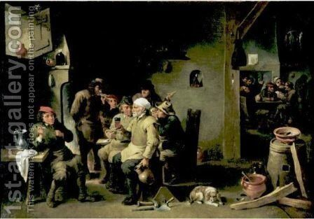 Interior Of A Tavern by (after)  David The Younger Teniers - Reproduction Oil Painting