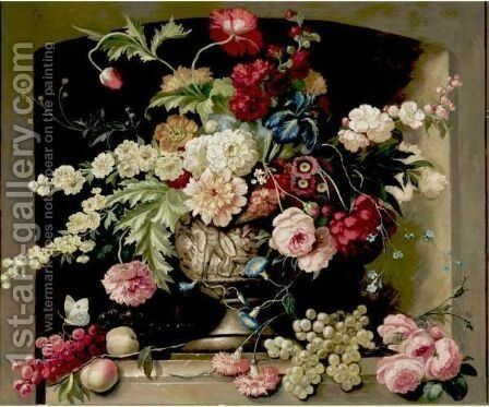 Still Life With Flowers And Grapes by Dutch School - Reproduction Oil Painting