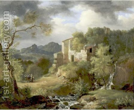 Italianate Landscape With Figures On A Path Near Ruins by Achille-Etna Michallon - Reproduction Oil Painting